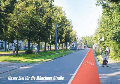 Radstreifen auf der Münchner Straße als Fotomontage (Zielstellung)